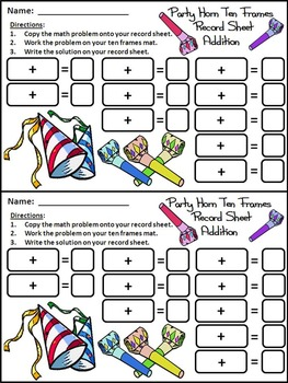 New Year's Ten Frames: Party Horns Ten Frames Math Activity Packet