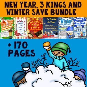 New Year, 3 Kings and Winter Save Bundle (Maths and Literacy Centers)