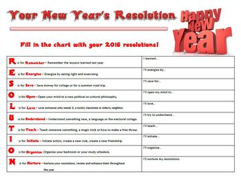 New Year Activity Resolution Acrostic