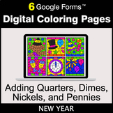 New Year: Adding Quarters & Dimes & Nickels & Pennies - Di