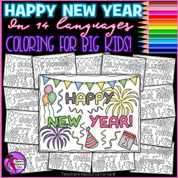 New Year Around the World Coloring Pages Sheets