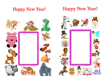 New Year Art Crafts Card Kindergarten Write in Blank Spaces Fold in Half