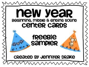 New Year Beginning, Middle & Ending Sound Center Cards ~FREEBIE SAMPLER~