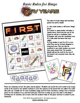 New Year Bingo / Matching Activities