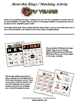 New Year Bingo / Matching Activities