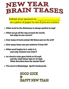 New Year Brain Teases
