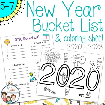 New Year Bucket List and Coloring Sheet
