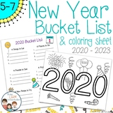 New Year Bucket List and Coloring Sheet 2020 - 2023