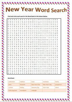 New Year Bundle -  Crosswords, Word Search, Matching, Scramble