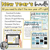 New Year Bundle Math Escape Activity, Just One Word Resolu