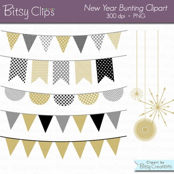 New Year Bunting Clipart Digital Art Set Gold Banner Flag