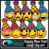 Happy New Year Party Emoji Emotions Clip Art