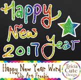#christmasfreebie New Year Clip Art Freebie– Glitter Happy New Year Word