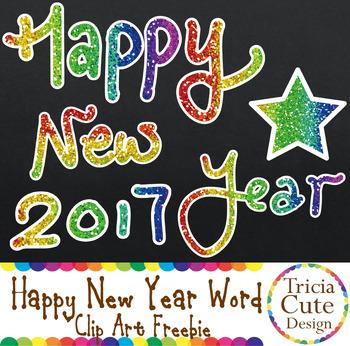 christmasfreebie new year clip art freebie glitter happy new year word