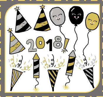 New Year Clipart / New Year's Clipart / Happy New Year Clipart / 2018 Clipart