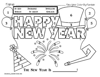 new years resolution coloring pages | New Year Color By Number FREEBIE! by Jennifer Drake | TpT