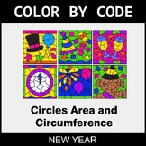 New Year Color by Code - Circles Area & Circumference