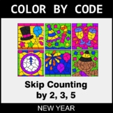 New Year Color by Code - Skip Counting by 2, 3, 5