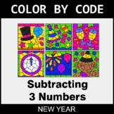 New Year Color by Code - Subtracting 3 Numbers