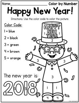 New Year Color by Number FREEBIE