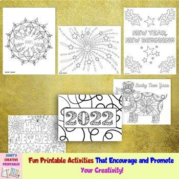 New Year Coloring Pages 2019 - Set of 6