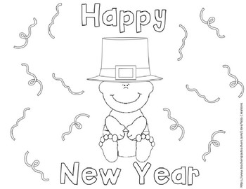 New Year Coloring Sheets