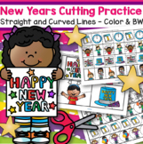 New Year Cutting Practice Skills Straight and Curved Lines Color and BW