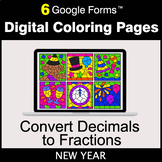 New Year: Decimals to Fractions - Google Forms | Digital C