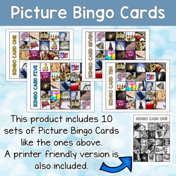 New Year's Activity Picture and Word Bingo Sets