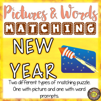 New Year's Activity Picture and Definition Vocabulary Matching