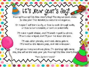 New Year Fun {Writing Activity} and {Poem}