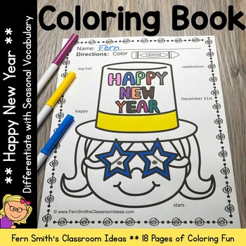 New Years Coloring Pages with Differentiated Seasonal Vocabulary