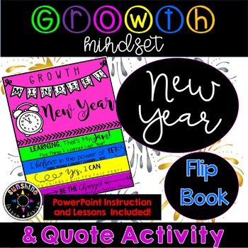 New Year GROWTH MINDSET Flip Book Fun and Quote Activity, Forever Updates!