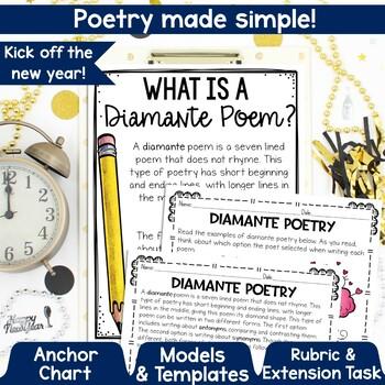 New Year Goal Setting Diamante Poetry Bulletin Board