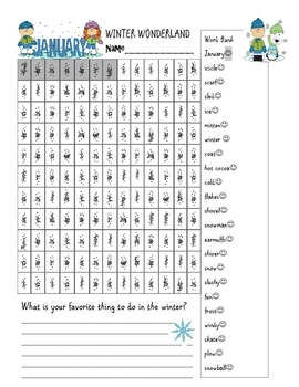 New Year Goals and New Year's Winter Word Find