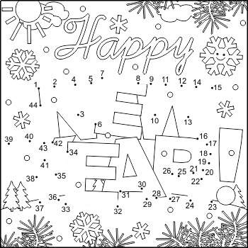 New Year Greeting Connect the Dots and Coloring Page, CU
