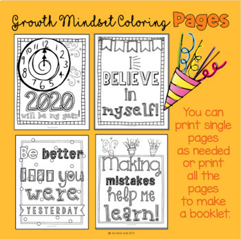 New Year Growth Mindset Coloring Pages w/ a Twist (Middle School): FREE Updates