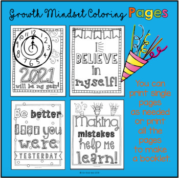 New Year Growth Mindset Coloring Pages with a Twist: FREE Yearly Updates