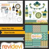 New Year: Happy New Year clip art bundle (3 packs)