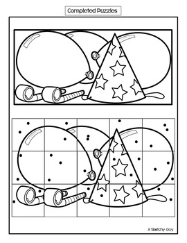 New Year Holiday Addition-Subtraction, Multiplication-Division Picture Puzzles