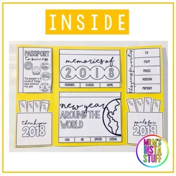 New Year Lap book 2019-2025 (6 foldables included) Interactive Notebook