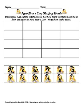 New Year Making Words Activity