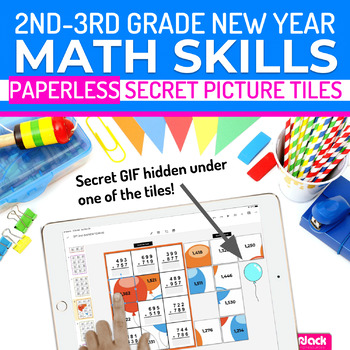 New Year Math | 2nd-3rd | Paperless + Printable Secret Picture Tiles SET