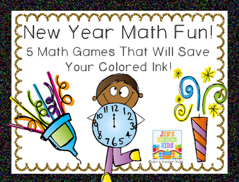 New Year Math Fun~ Ink Saving Math Centers!