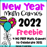 New Years Activities for 2020 - NO PREP Math Games Freebie