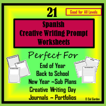 Back to School & More Spanish Writing Prompt Worksheets