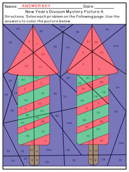 New Year Multiplication and Division Mystery Pictures