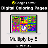 New Year: Multiply by 5 - Google Forms | Digital Coloring Pages