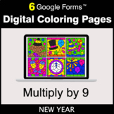 New Year: Multiply by 9 - Google Forms | Digital Coloring Pages