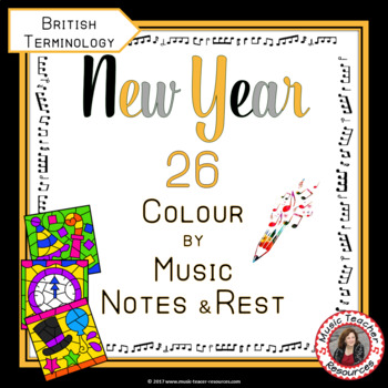 Music New Year Activities:  26 New Year Music Colouring Pages